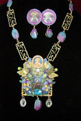 4446 Set Of Stained Glass Virgin Mary Butterfly Solar Quartz Necklace + Earrings