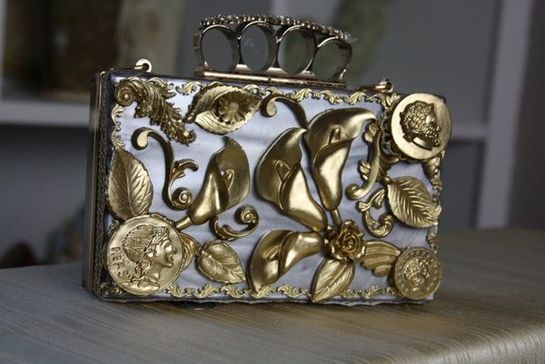 SOLD! 63 Roman coin Baroque Baroque Embellished Mother Of Pearls Lilly Knuckle Purse Handbag