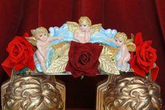 4498 Baroque Vivid Huge Cherub Angel Hand Painted Velvet Roses Waist Belt Size L, XL