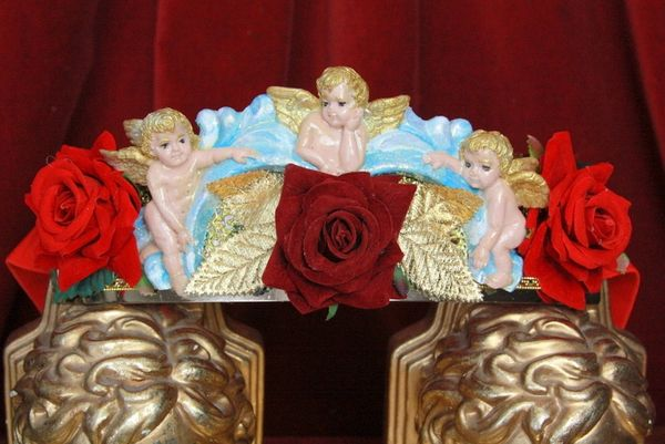 SOLD! 4498 Baroque Vivid Huge Cherub Angel Hand Painted Velvet Roses Waist Belt Size L, XL