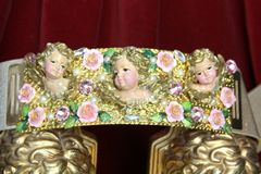 SOLD! 4499 Baroque Chubby Vivid Huge Cherub Angel Hand Painted Velvet Roses Waist Belt Size L, XL