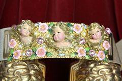 SOLD! 4499 Baroque Chubby Vivid Huge Cherub Angel Hand Painted Velvet Roses Waist Belt Size L, XL