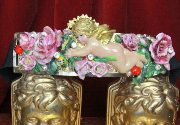 4503 Baroque Vivid Huge Cherub Angel Roses Ladybug Hand Painted Waist Belt Size L, XL