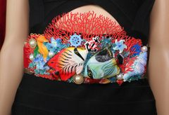 SOLD! 4546 Nautical Vivid Fish Coral Reef Hand Painted 3D Effect Embellished Waist Belt