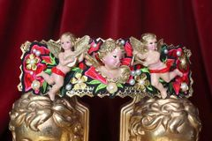 4549 Total Baroque Hand Painted Cherubs Rose Appliques Embellished Waist Belt