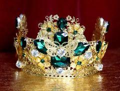 4553 Baroque Green Crystal Gold Leaf Butterfly Flower Crown Headband