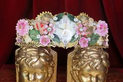 SOLD! 4682 Total Baroque Hand Painted Musical Cherubs Clock Embellished Waist Belt
