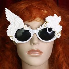 SOLD! 4693 Baroque White Winged Pegasus Baroque Sunglasses