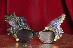 4704 Baroque Black Iridescent Winged Pegasus Baroque Sunglasses
