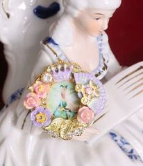 4767 Young Marie Antoinette Hand Painted Aqua Fan Cocktail Adjustable Ring