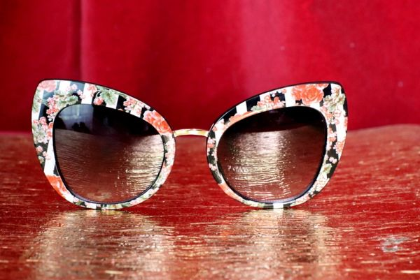 4797 Baroque Colorful Striped Floral Print Sunglasses