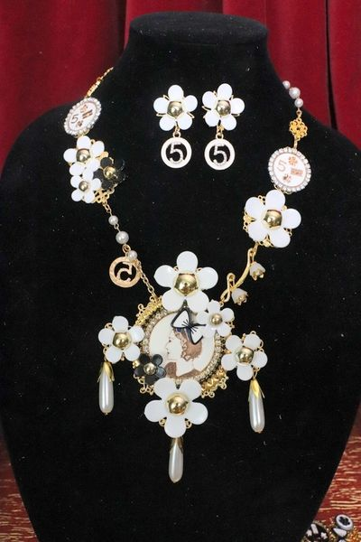4820 Set OF Madam Coco Portait Charms Camellia Necklace + Earrings