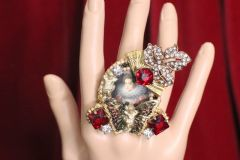 SOLD! 4891 Victorian La Reina Butterfly Crystal Massive Cocktail Adjustable Ring