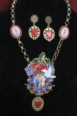 4919 Set Of Madonna Virgin Mary Violets Heart Necklace+ Earrings