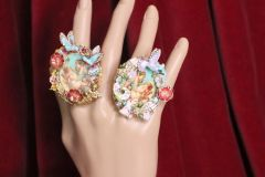 4922 Victorian Cherubs Renaissance Hummingbirds Bunny Massive Cocktail Adjustable Ring