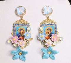 4924 Virgin Mary Madonna Blue Icon Studs Earrings