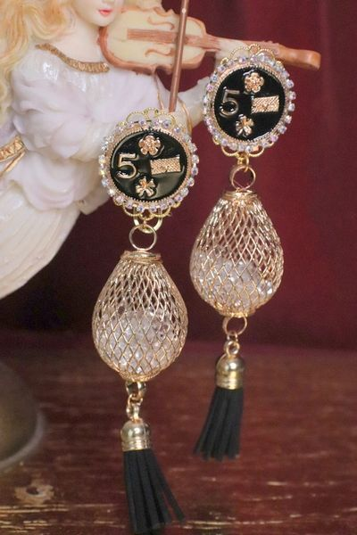 SOLD! 4936 Madam Coco Net Number 5 Studs Earrings