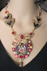 4960 Madonna Virgin Mary Bow Cameo Roses Necklace