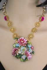 SOLD! 4965 Madonna Virgin Mary 3D Effect Hand Painted Enamel Flowers Necklace