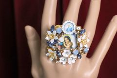 SOLD! 4979 Madonna Virgin Mary Flower Blossom Massive Cocktail Adjustable Ring