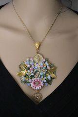 4997 Madonna Virgin Mary Cameo Heart Sacred Heart Pendant