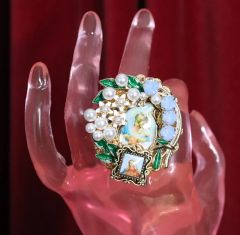 4999 Stunning Pearl Virgin Mary Madonna Cocktail Adjustable Ring