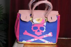 5018 Classic Scull Pattern Pink/Purple Handbag