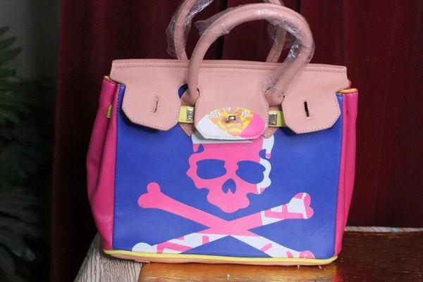 5018 Classic Scull Pattern Pink/Purple Handbag