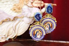 5116 Virgin Mary Madonna Blue Genuine Agate Rhinestone Earrings Studs