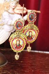 5153 Virgin Mary Madonna Cameo Red Rhinestone Earrings Studs