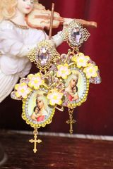 5154 Virgin Mary Madonna Cameo Orchids Earrings Studs