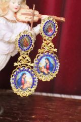 5169 Virgin Mary Madonna Cameo Doble Cameo Blue Earrings Studs