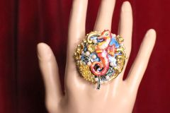 5196 Genuine Huge Agate Red Sea Horse Cocktail Adjustable Ring