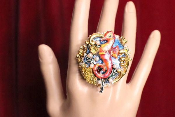5196 Genuine Huge Agate Red Sea Horse Cocktail Adjustable Ring