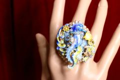 5219 Genuine Huge AgateBlue Sea Horse Cocktail Adjustable Ring