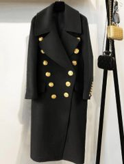 5229 High-End Coco Designer Inspired Gold Buttons Wool Blend Coat