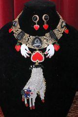 5257 Set Of Crystal Hand Strawberry Genuine Solar Quartz Unusual Necklace+ Earrings