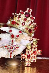 SOLD! 5273 Alta Moda Red Cross Crystal Stunning Pearl Headband Crown