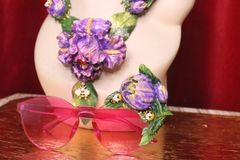 5281 Baroque Runway Pink Tulip Hand Painted Sunglasses