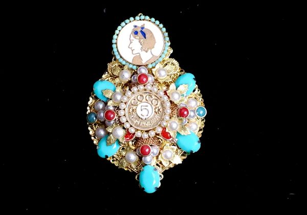 5298 Byzantine Madam Coco Huge Number 5 Aqua Brooch