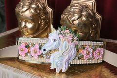 SOLD! 5299 Baroque Massive Unicorn Roses Hand Painted Waist Gold Belt Size S, L, M