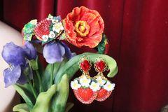 5302 Baroque 3D Effect Poppy Flower Strawberry Headband