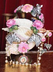 5304 Baroque 3D Effect Zebra Roses Flower Headband