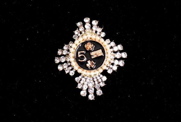 SOLD! 5308 Byzantine Madam Coco Number 5 Clear Rhinestones Elegant Brooch