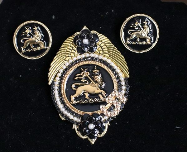SOLD! 5316 Set Of Medieval Coco Caneliia Lion Brooch+ Earrings