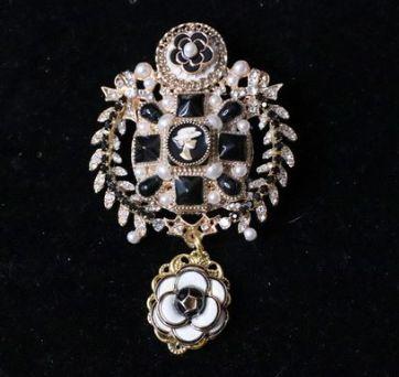 SOLD! 5323 Camellias Enamel Massive Gold Genuine Pearl CrystalBrooch