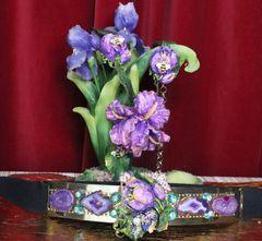 SOLD! 5330 Baroque Vivid Hand Painted Tulip Flower Genuine Agate Embellished Unusual Waist Gold Belt Size S, L, M