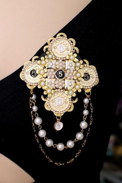 SOLD! 5330 Huge Coco Coins Cross Massive Pearl Baroque Brooch