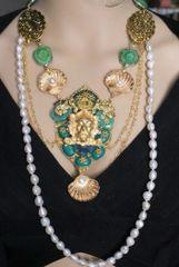 5331 Set Of Genuine Solar Quartz Neptun Poseidon Shell Necklace + Earrings
