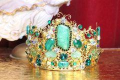 5332 Genuine Solar Quartz Gemstones Gold Flowers Baroque Crown Headband